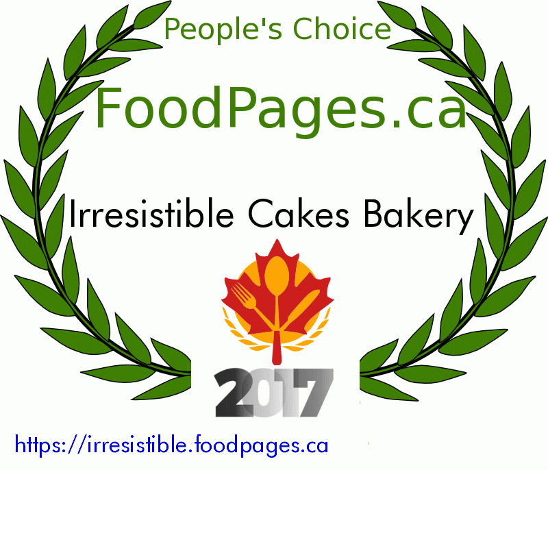 Irresistible Cakes Bakery FoodPages.ca 2017 Award Winner